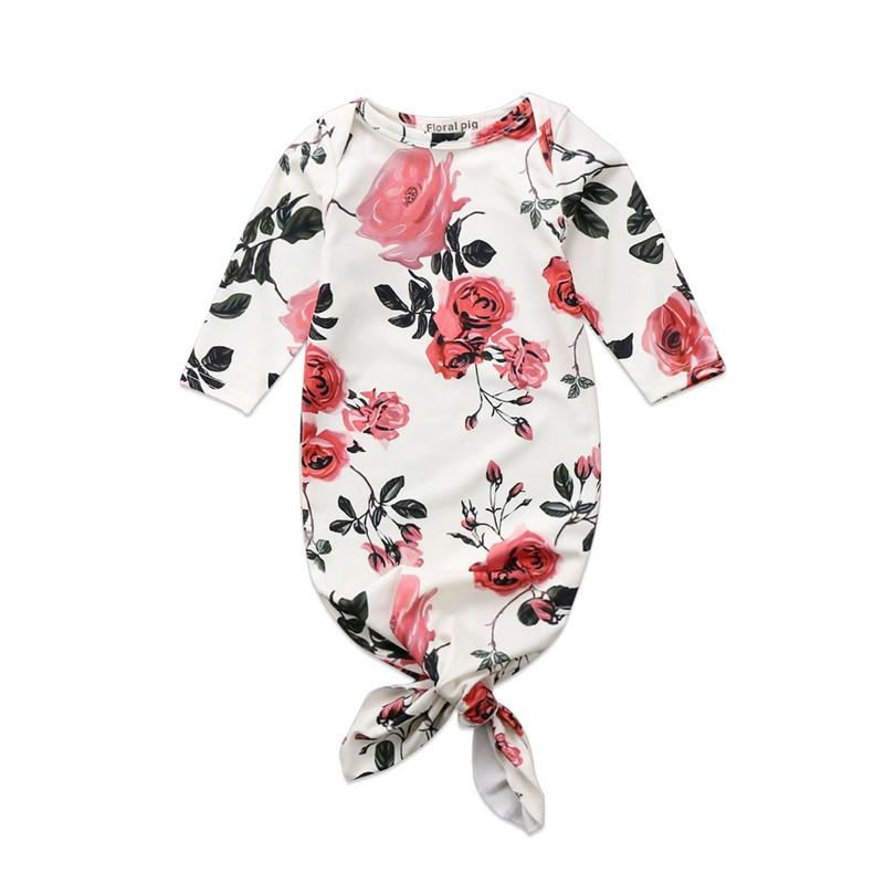 Newborn Baby Girls Floral Blanket Long Sleeve Sleeping Bag Swaddle Wrap Outfits