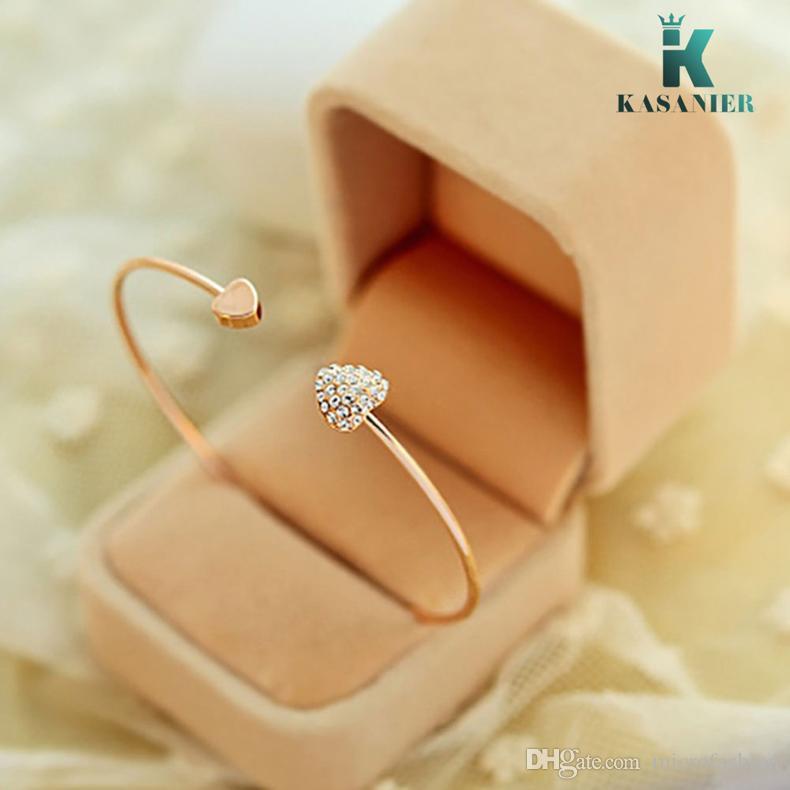 Kasanier 10 stücke Gold Verstellbare CZ Kristall Doppel Herzförmige Metall Manschette Armbänder Armreif Offener Kreuz Charme Armband Für Frauen