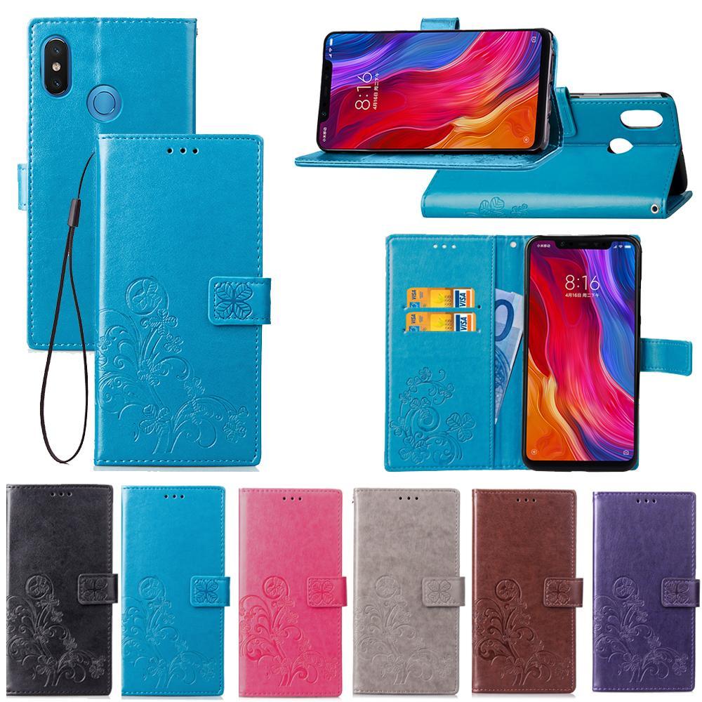 Pour Xiaomi Mi 8 Cover avec porte-carte portefeuille perforé concave chanceux quatre feuilles