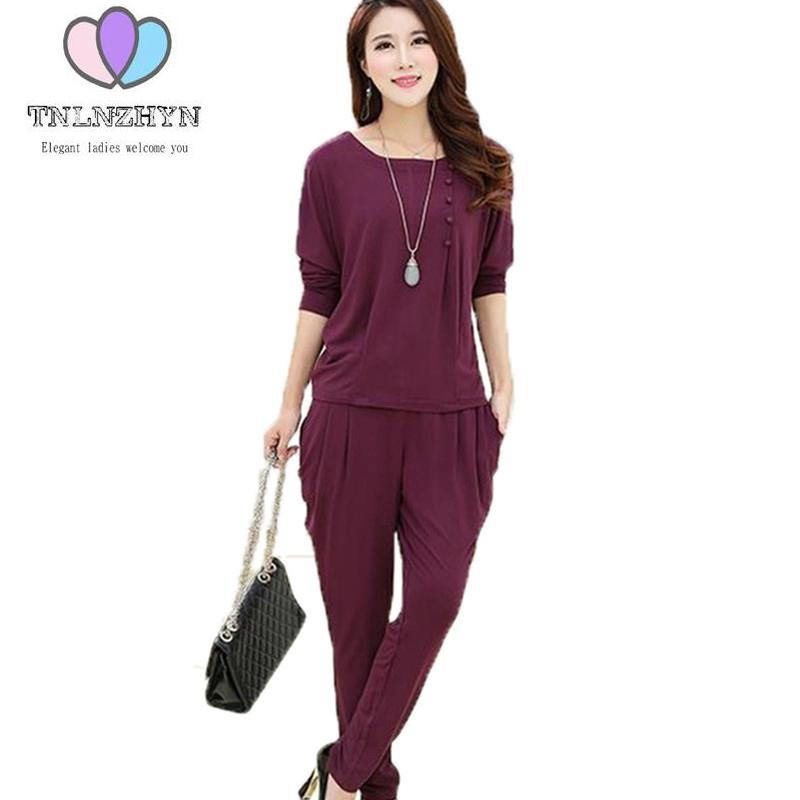2018 spring autumn mother loaded middle-aged plus size casual sportswear 2 pice set women solid color pants sporting suits
