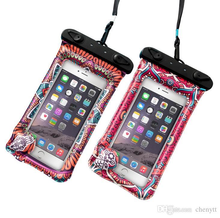 2018 موضة جديدة البوب بوهو نمط الكرتون كيس الهواء العائمة للماء حقيبة الهاتف المحمول مجموعة نفخ حقيبة الهاتف المحمول للماء