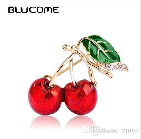 Blucome broches de esmalte rojo para mujeres niños cereza broche ramillete pequeño ramo Hijab Pins Feminino fiesta bolso vestido accesorios