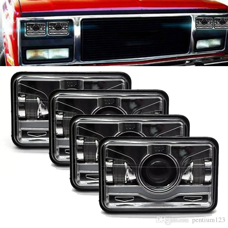 "4pcs 4""x6"" Inch Square LED Headlights Sealed Beam H4651 H4652 H4656 H4666 H6545 - HID Replacement 6000K Rectangular Super White Light -"