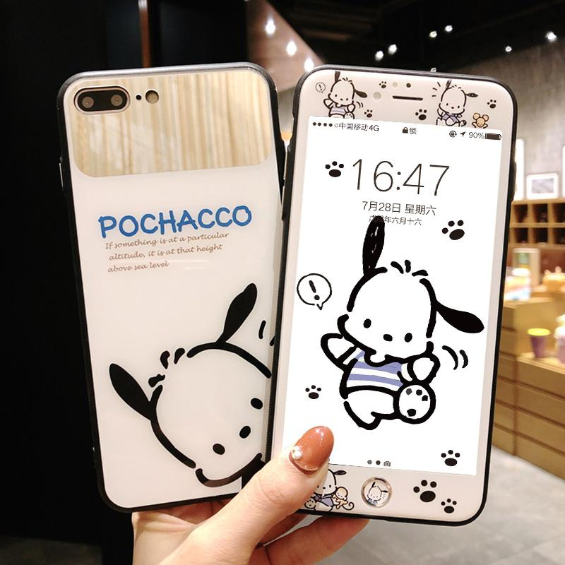 Pochacco dog cover for iPhone 8/7 plus glass mirror case & tempered glass film for iPhone 6 6s cute phone screen protector+strap