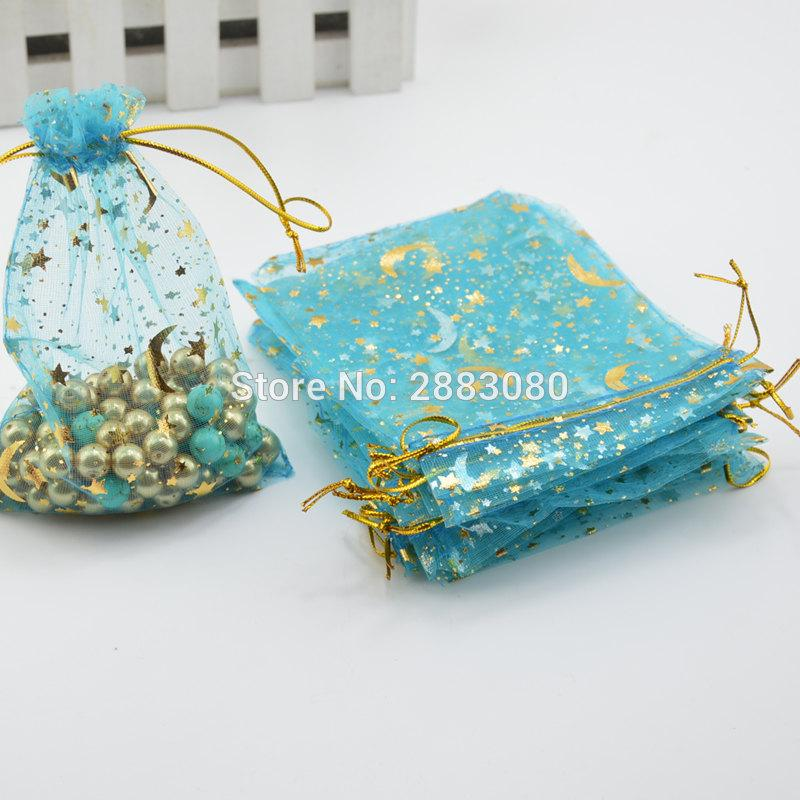 100pcs / lot 하늘색 organza 가방 달과 스타 drawstring 파우치 선물 가방 9x12cm 보석 상자 선물 상자 포장