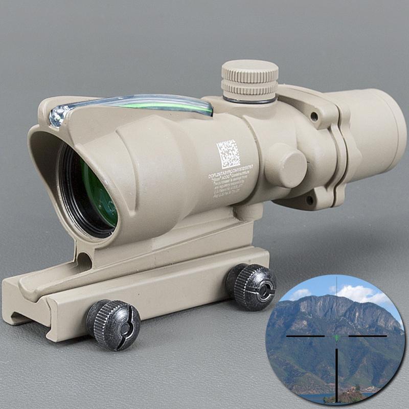 Trijicon Tan Тактические 4X32 Scope Sight Real Fiber Optics Green Illuminated Tactical Прицел 20мм для охоты ласточкина хвоста,