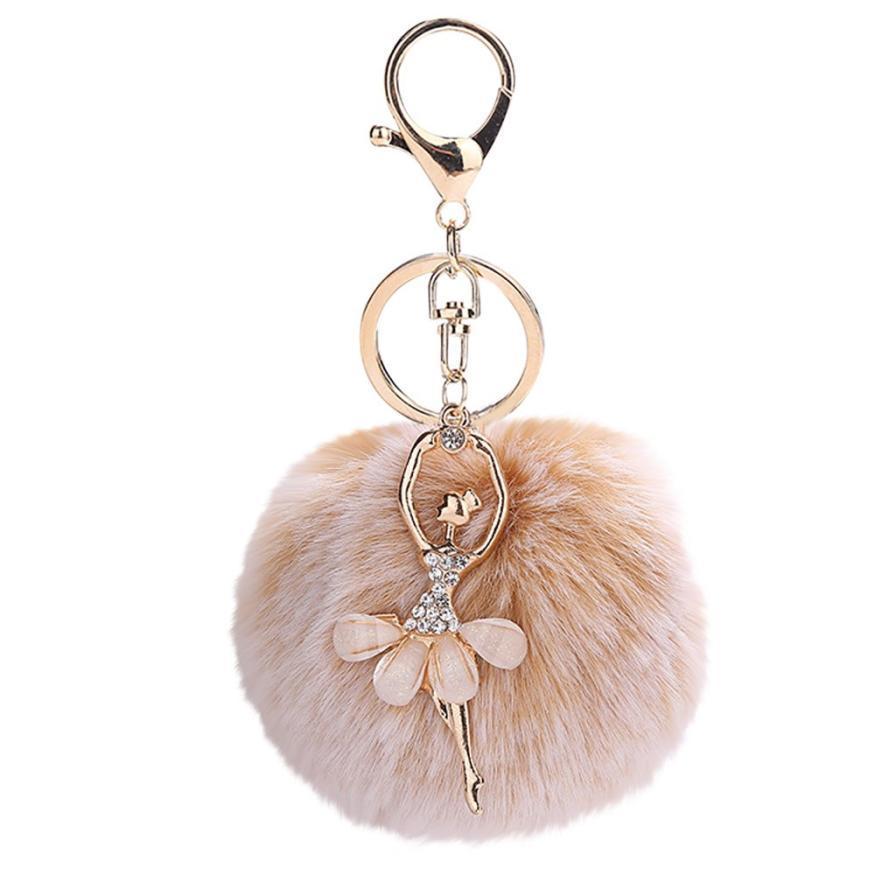Gemixi 8cm bonito dança anjo keychain pingente mulheres chave titular pompoms chaveiros presentes para mulheres saco acessórios 4.2