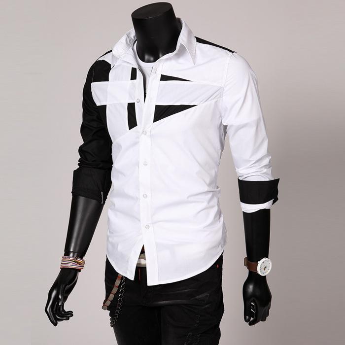 2018 캐주얼 슬림 피트 남성 셔츠 봄 가을 특징 남성 캐주얼 청바지 셔츠 긴 소매