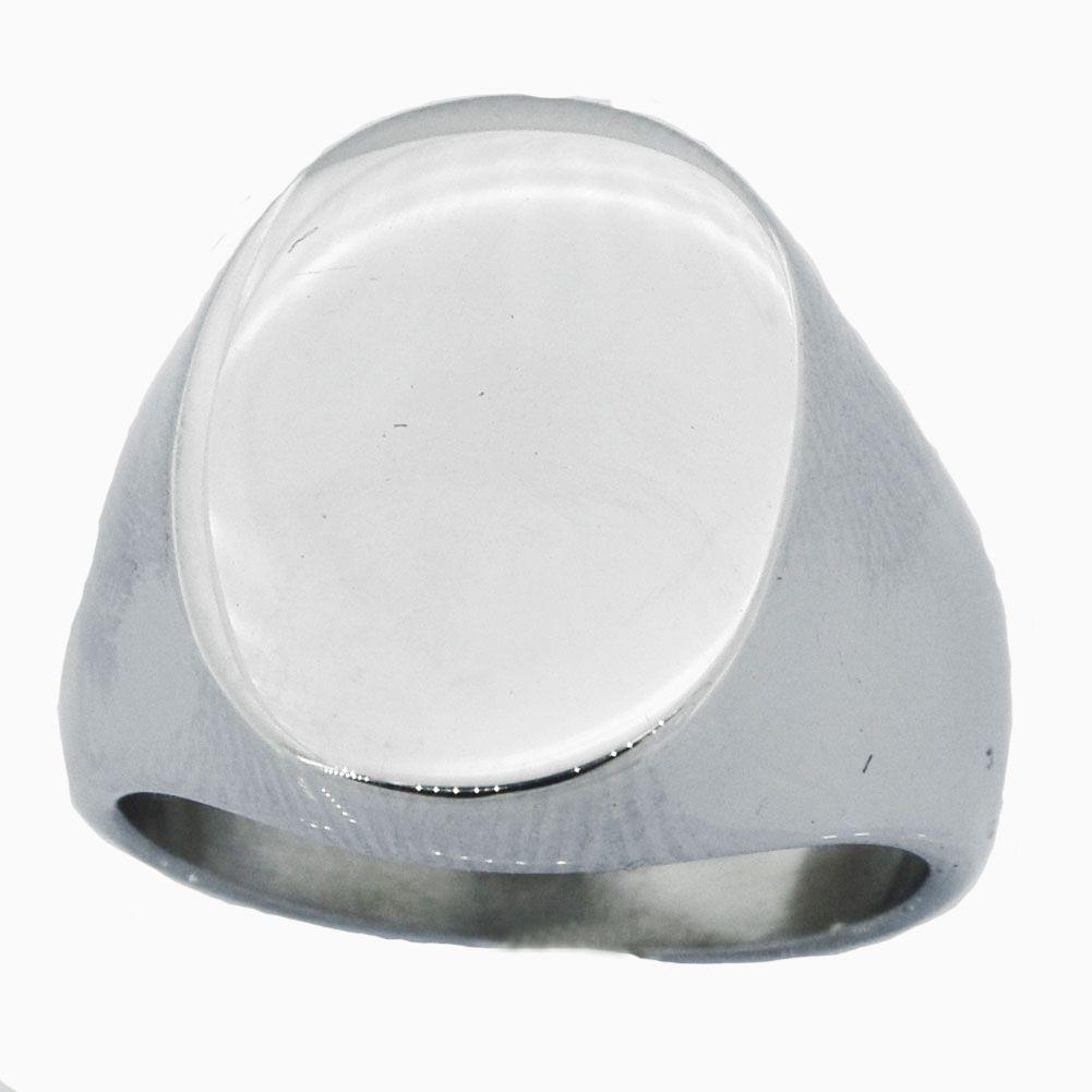 Fanssteel Acciaio inox Acciaio inox o gioielli da donna Engravalbe ad alta lucidatura ovale anello del sigillo regalo per ragazzi ragazze 06W21
