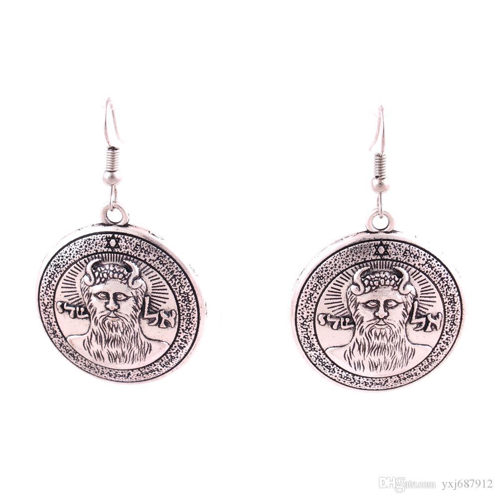 Arcanjo metatrons Talisman In Gold-tom bronze ou prata SALOMÃO Pentagrama Charme Pendent Hooking Brinco