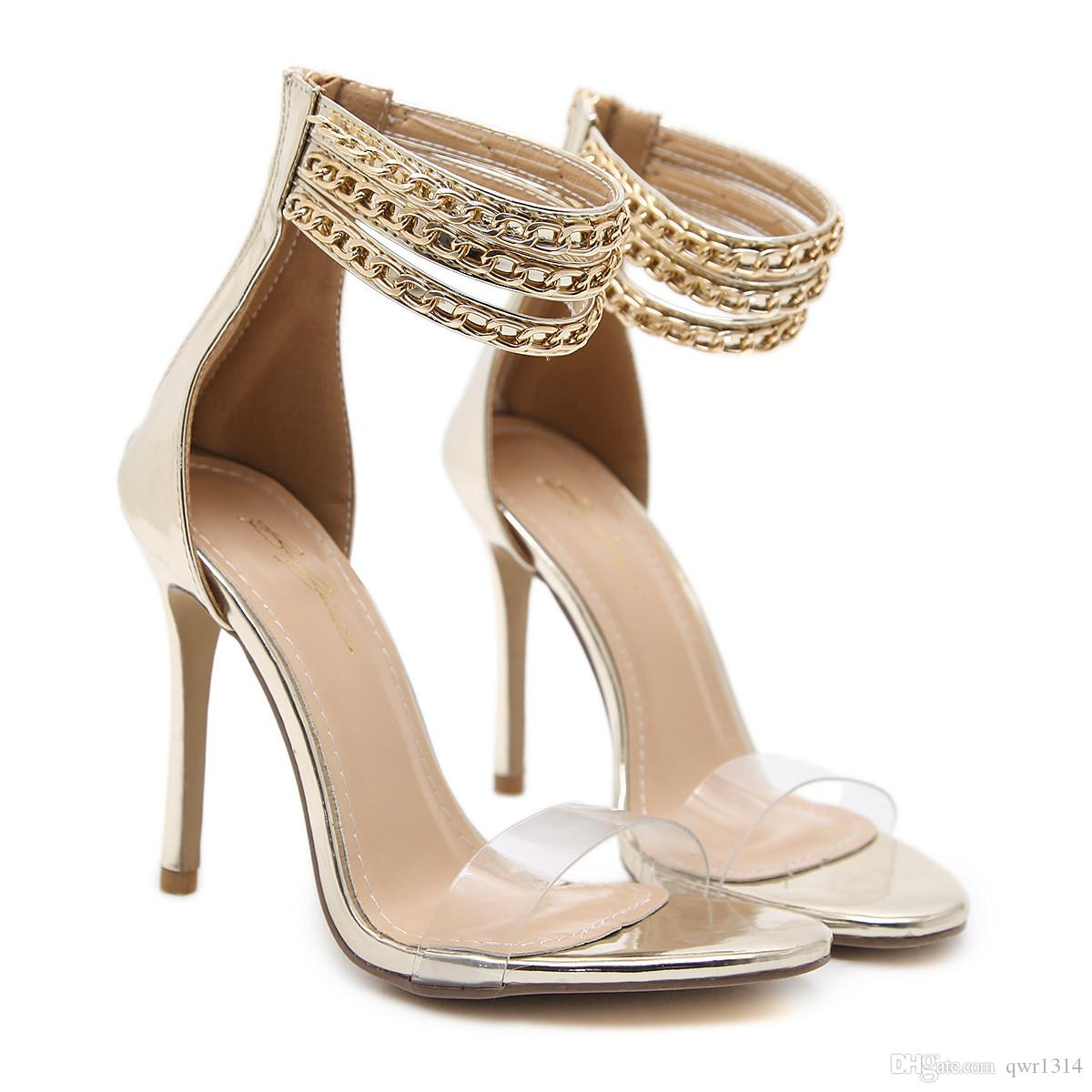 New Fashionl Women High Heel pumps open Toe Roman style metal chain Catwalk show style sandals Sexy Lady party shoes Plus Size