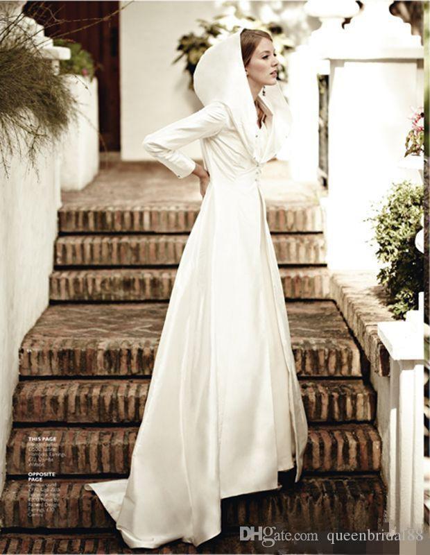 Hot Selling 2019 Long Sleeve Charming Bridal Cloak with Hat Cape Coat Bolero Satin Wedding Bridal Wraps&Jackets