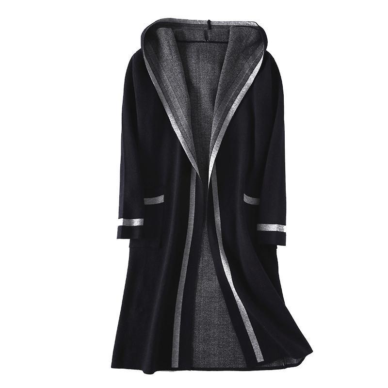Winter women outerwear medium long Large size female sweater cardigan loose hooded knitting High grade ladies shawl coat cw449