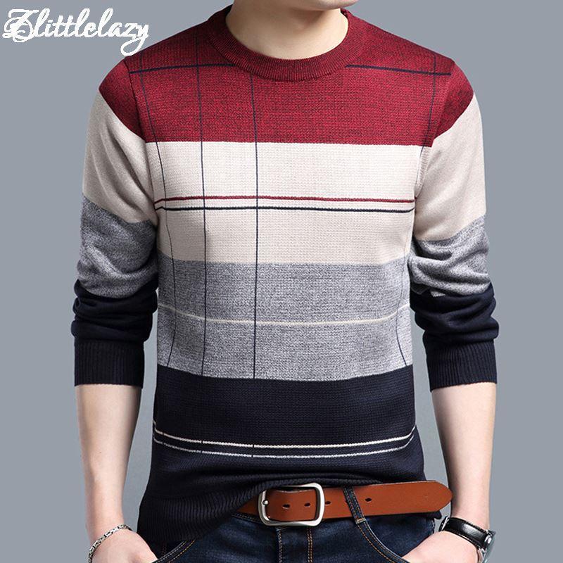 2018 Marka Social Cotton Cienkie męskie Swetry Swetry Dorywczo Szydełkowane Paski Sweter Dzianiny Mężczyźni Masculino Jersey Odzież 5066