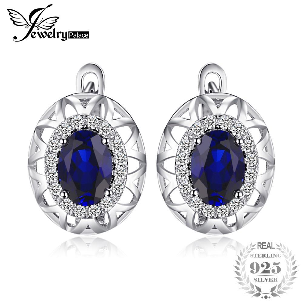 JewelryPalace Unique Design 2.4ct Created Blue Sapphire Clip On Earrings 925 Sterling Silver High Quality 2018 New Fashion Y18110110