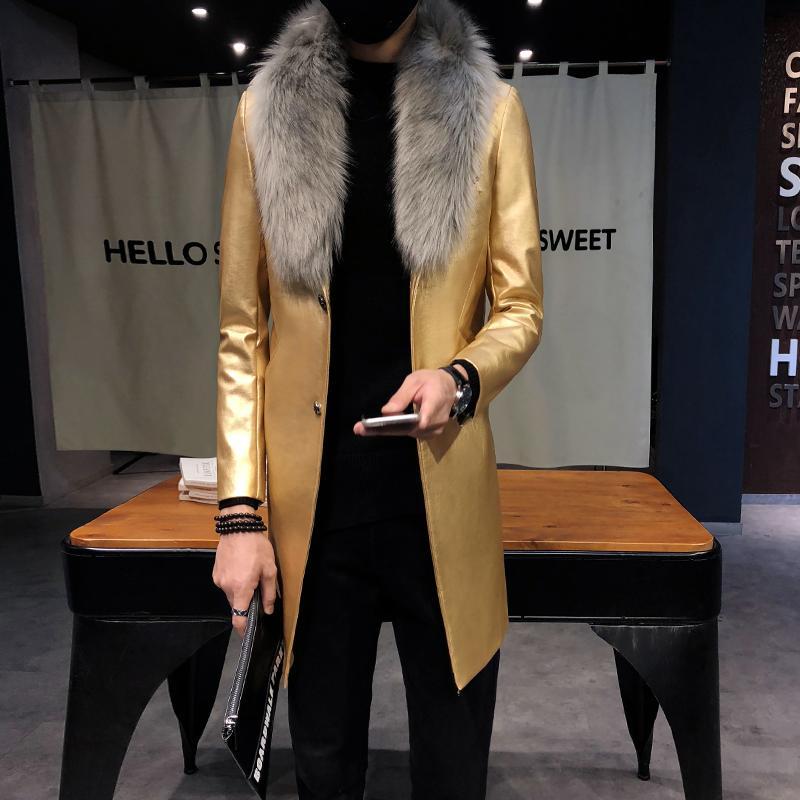 Großhandel 2018 Herren Lange Leder Trenchcoats Schwarz Langen Mantel Herren Burgund Erkek Palto Pelzkragen Luxus Gold Männer Mäntel Slim Fit Von Hiem,