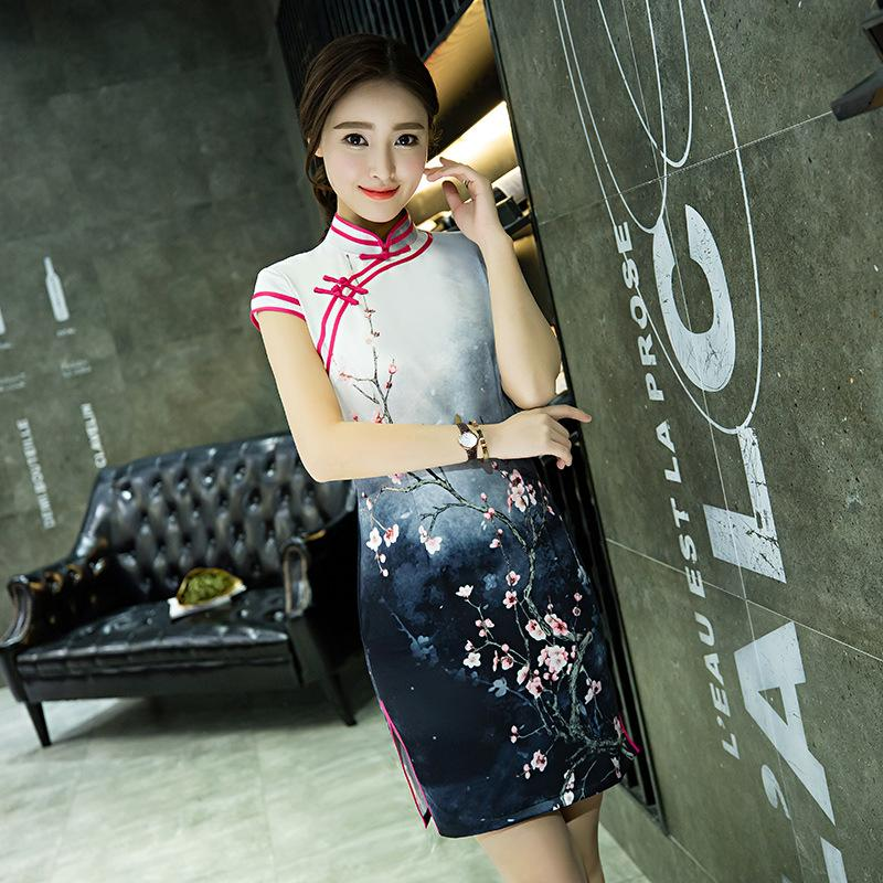 Ink painting Chinese style traditional silk short Qipao modern for women