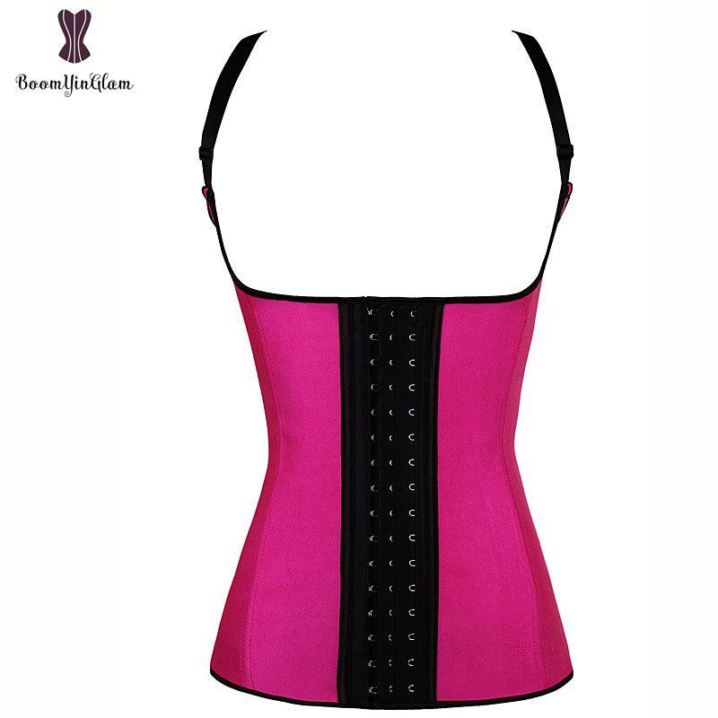 Babaka Latex Vest Corset sólida de aço espiral Boning bustier 6XL Plus Size cintura instrutor diária Outwear Alça Corselet