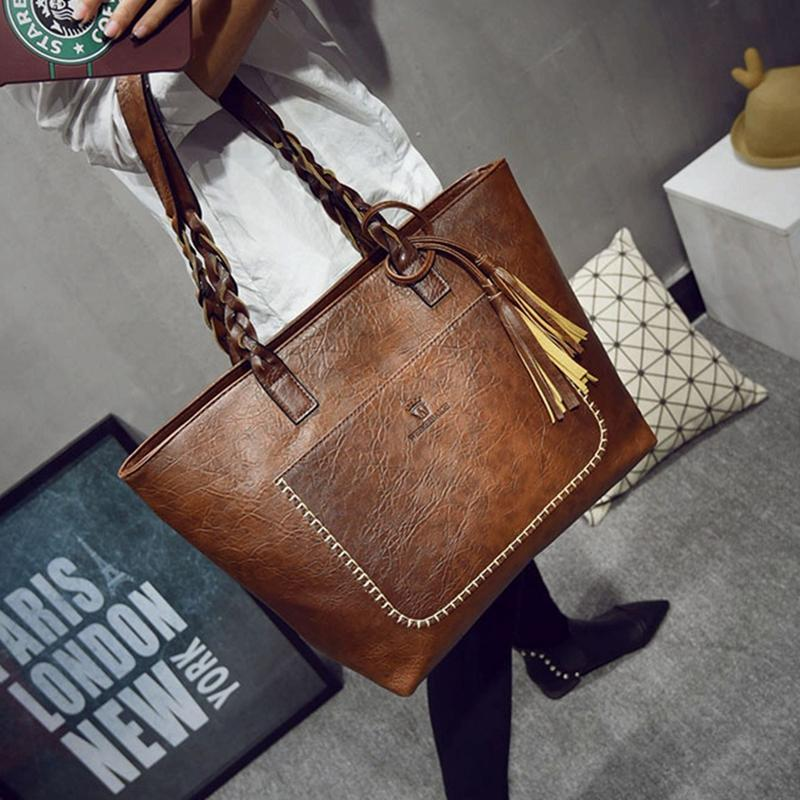 Кожа PU сумка для женщин кисточки Shopper Tote Sac основного высокого качества Vintage мешок плеча способа