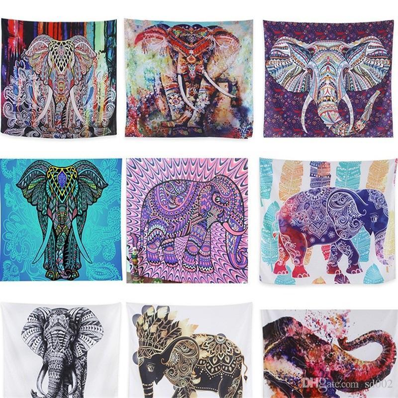 Digital Printing Beach Picnic Rug Blanket Wall Tapestry Hanging Towel Bohemia Mat Elephant Series Home Decoration 13 5lk bb