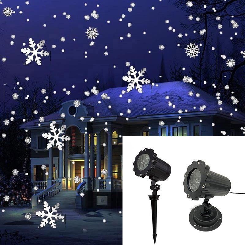 1PCS 크리스마스 눈송이 레이저 빛 폭설 프로젝터 IP65 이동 눈 야외 정원 레이저 프로젝터 램프 새 해 파티 장식