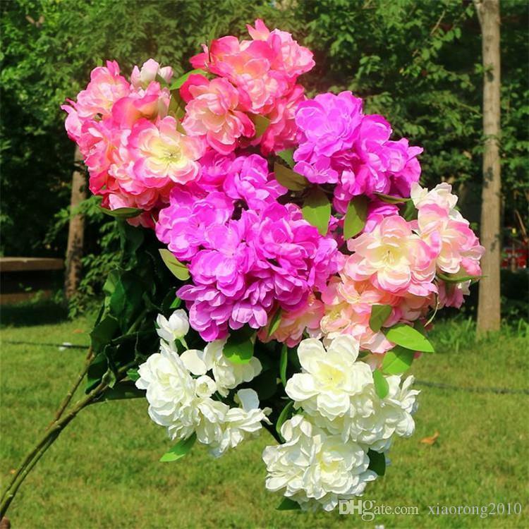 Falso Longo Haste Rododendro (3 hastes / peça) Simulação Begonia Flores para Casa de Casamento Vitrine Flores Artificiais Decorativas