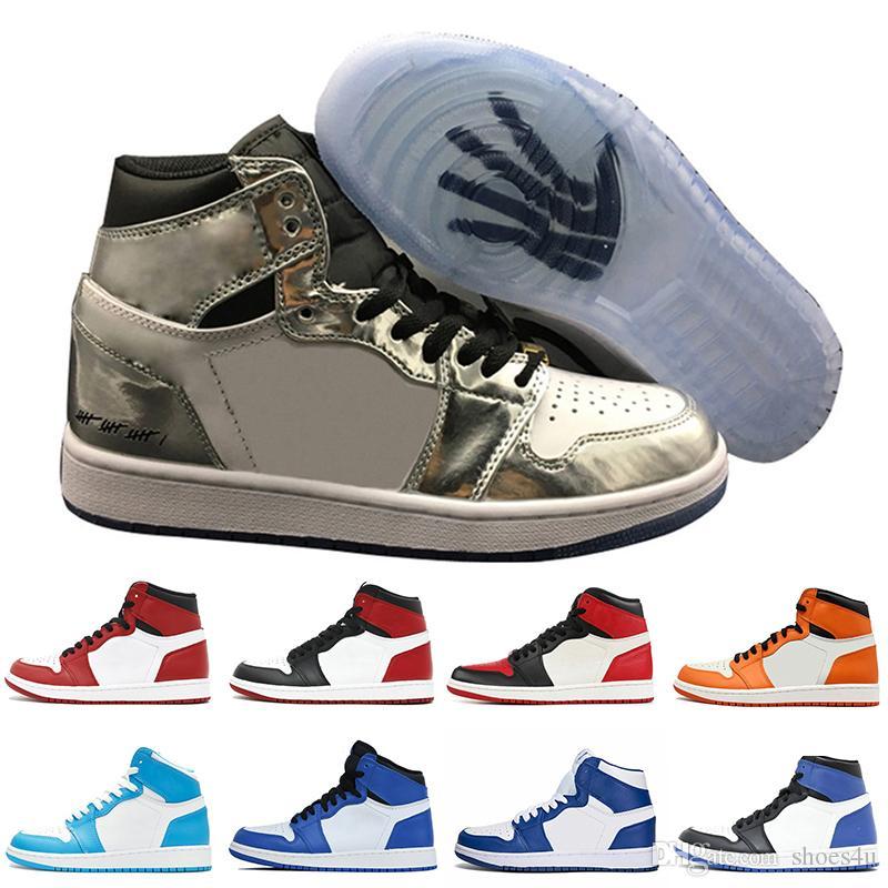 1 1s top 3 Banned Bred Toe Jeux de basket-ball Chicago OG 1s Chaussures de basket-ball bleu royal pour hommes Baskets Sashtered Backboard pour hommes