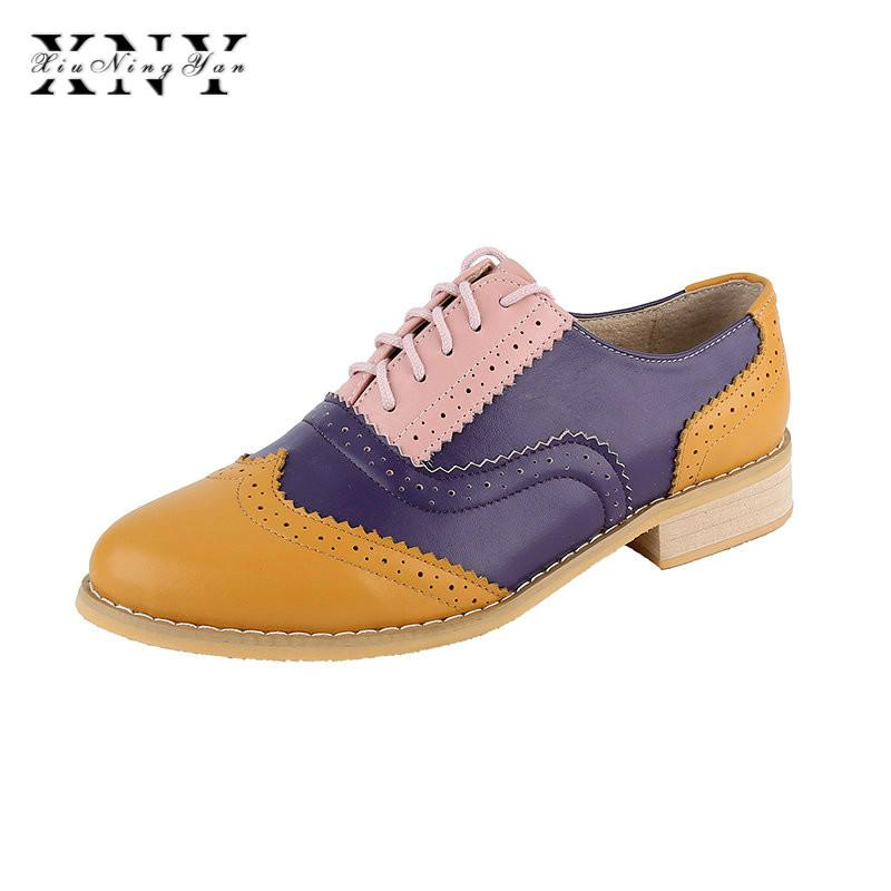 XIUNINGYAN Vintage British Style Oxford Shoes For women Genuine leather flat shoes women US size13 handmade Black leather
