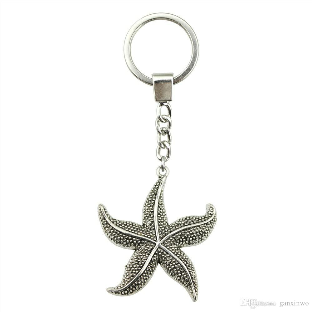 6 Pieces Key Chain Женщины Кольца для ключей автомобиля брелок для ключей Морская звезда 50x43mm