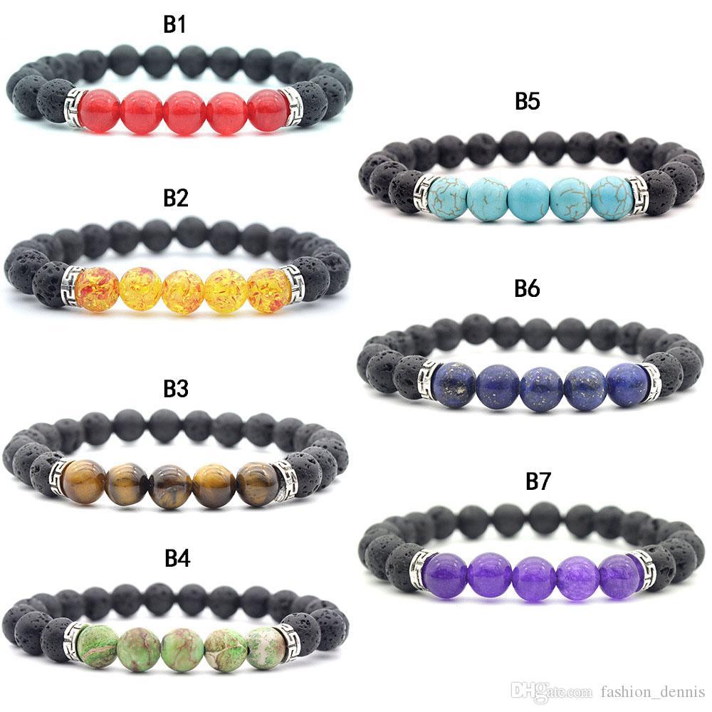 7 Chakra grani di pietra donne del braccialetto 8MM pietra naturale di roccia lavica energia dei braccialetti di fascino fili per Uomo regalo gioielli moda calligrafia