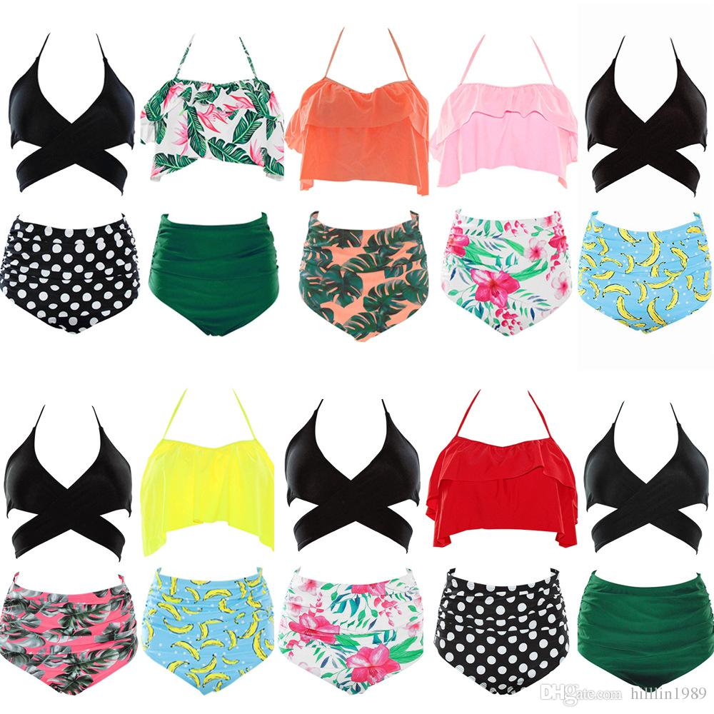 Women Tankini Swimwear 10 Colors Plus Size 3XL Bathing Suits Halter Padded Swimsuit High Waist Bikini Push Up Beachwear