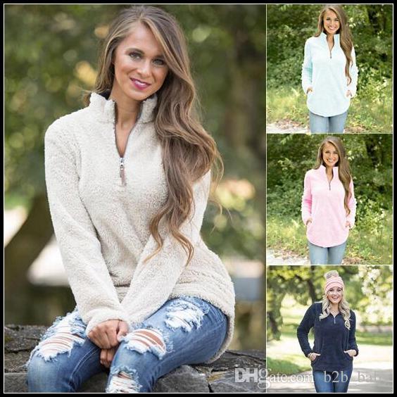 4 Renkler Casual Kadın Hoodies Tişörtü Uzun Kollu Fermuar Gevşek Gömlek Büyük Boy Eşofman Hoodies Sonbahar Kış Hoodies CCA8430 20 adet