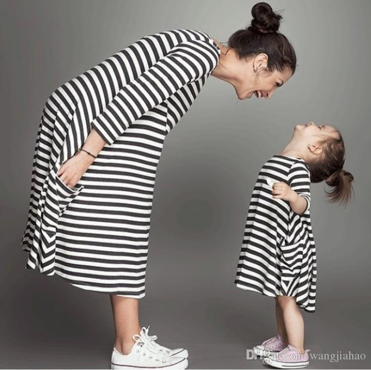 Mother and daughter Dresses Chevron Toddler Cotton Baby Girls Striped Dress Long Sleeve Princess Party Dresses Kids Clothes Clothing
