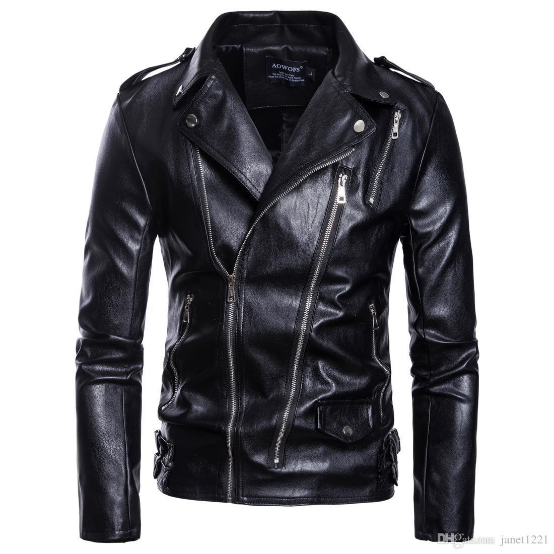 Pelle Moto uomini Leather Jacket Giacche obliquo della chiusura lampo per gli uomini neri sottile casuale di inverno degli uomini Outwear Plus Size M-5XL J180744