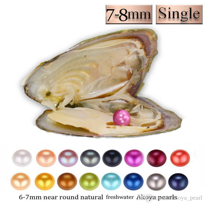 Renk İnci istiridye 2018 YENİ 1pc 7-8mm DIY Yuvarlak Çeşitliliği İyi Bireysel Paketi Moda Trend Hediye Sürpriz Shell Vakum