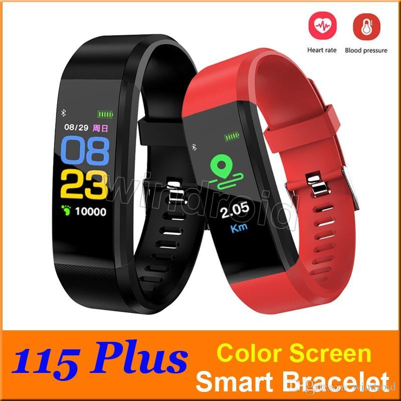 Braccialetti ID 115 Plus Smart Schermo sportivo a colori Schermo intelligente Bracciale Cardiofrequenzimetro Monitor pressione sanguigna IP67 Tracker attività impermeabile