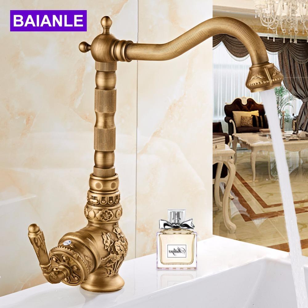 Современные Одной ручкой 360 градусов поворотный краны искусства высекает античная бронза ванной кран бассейна кран кухни античный кран