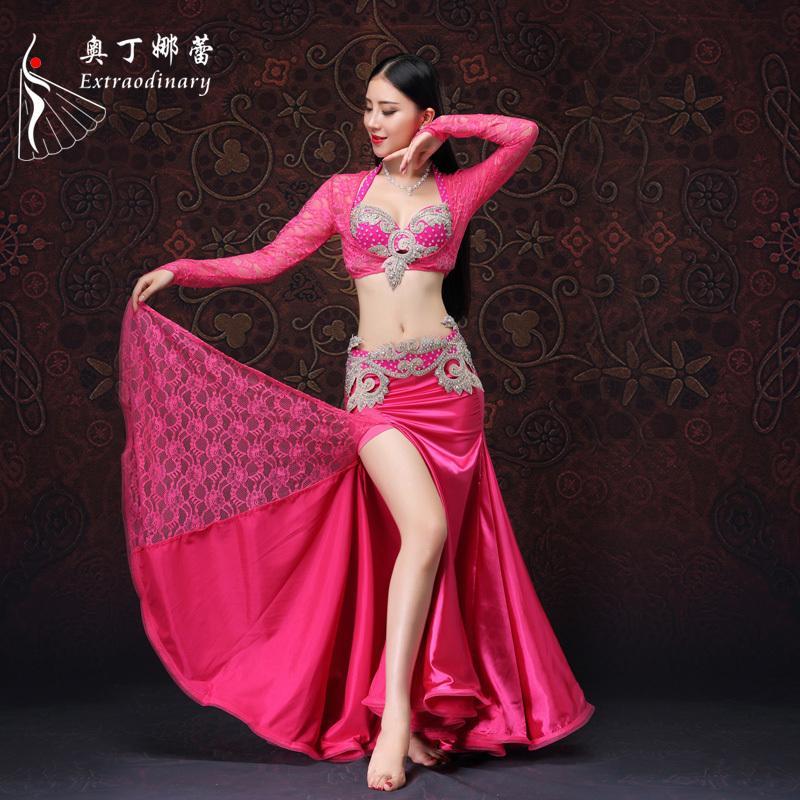 Traje de baile de mujer Traje de danza del vientre 4 piezas Falda de cinturón de sujetador superior