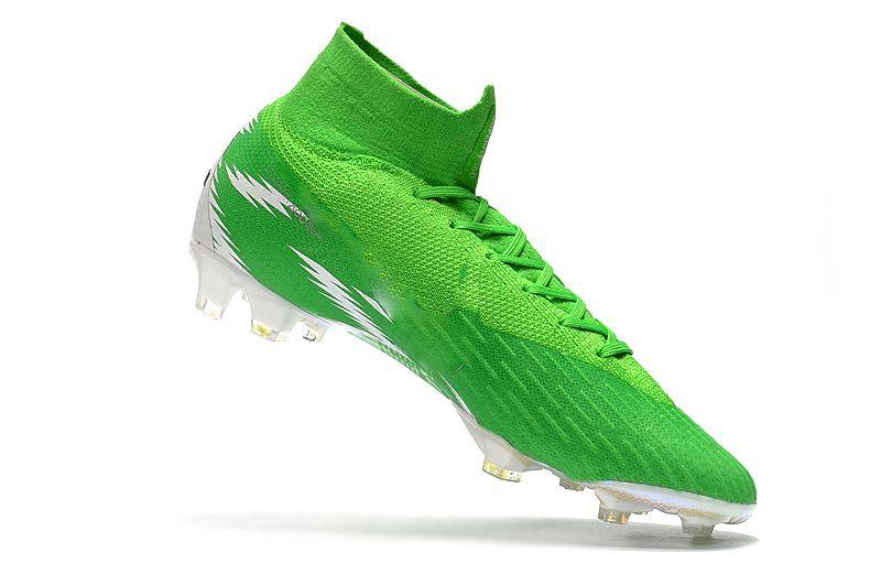 أخضر 100٪ الأصل Mercurial Superfly VI 360 Elite FG أحذية كرة القدم المرابط عالية في الكاحل