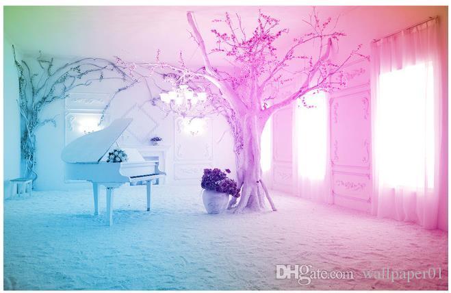 Zdjęcie tapety wysokiej jakości 3d stereoskopowe 3d fantasy różowy fortepian scena śnieg scena tv sofa tło ścienne malowanie rozszerzenie osobowość ściana