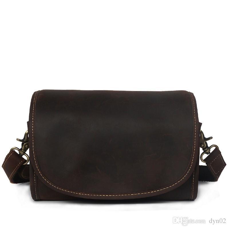 Personalidad bolsos retro cuero hombro bolsa colgada cabeza capa de cuero cilindro retro diagonal caballo loco bolso de cuero