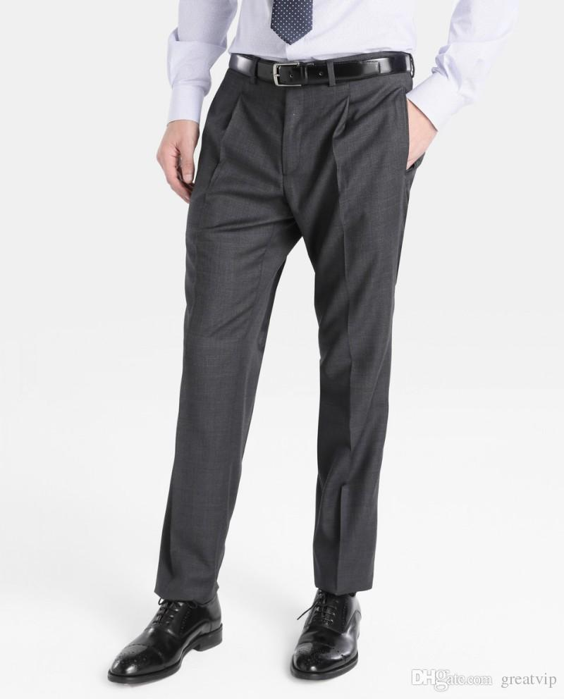 Wedding Men Suit Pants Dark Gray Formal Fashion Slim Trim Fit Casual Business Straight Dress Trousers Free Shipping