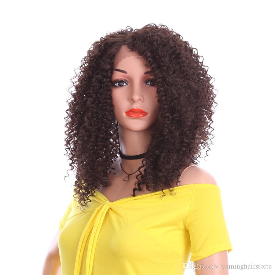 14 인치 유행 패션 변태 곱슬 레이스 전면 가발 합성 머리 가발 사이드 부분 아프리카 여성을위한 자연 옹 브르