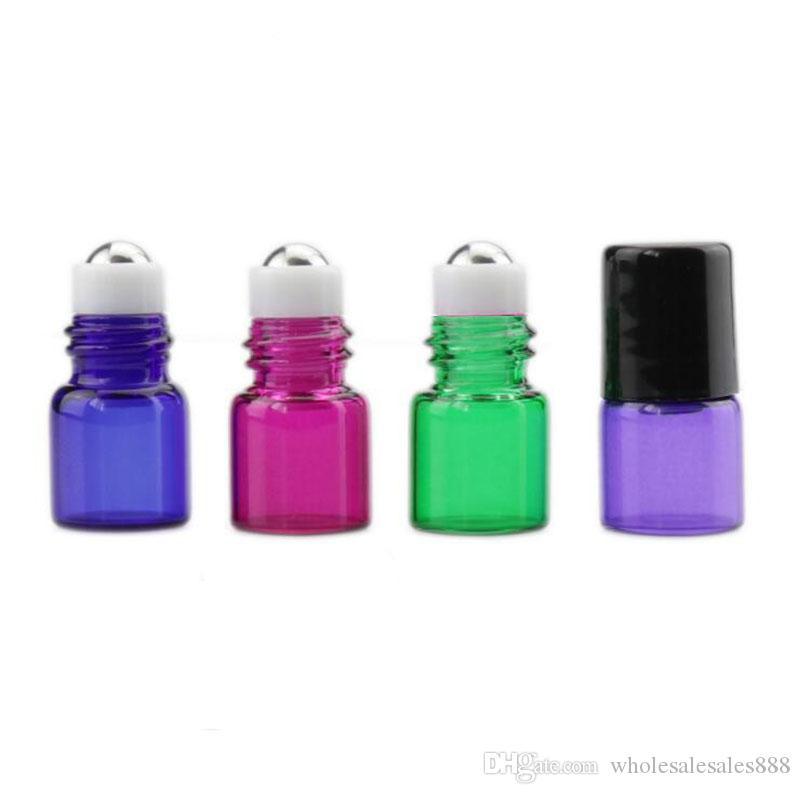 Kolorowe 200 sztuk MINI 1ML Roll na butelce szklane do oleju eterycznego - puste butelki perfum aromaterapii - napełniająca szczupła próba fiolka z meta