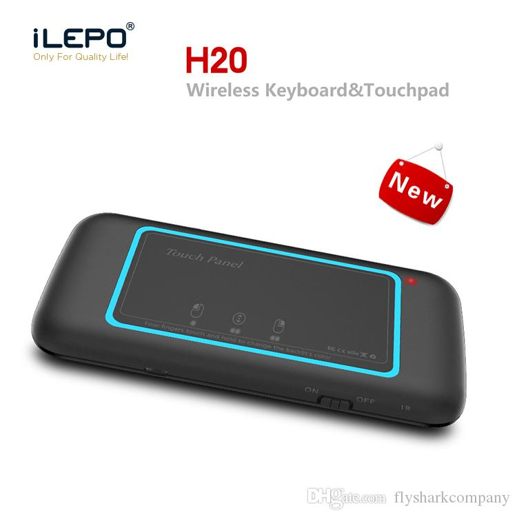 New H20 2.4G Wireless Backlight Mini Keyboard Touchpad Remote Control For Laptop X96 Mini TV Box Android Tablet PC