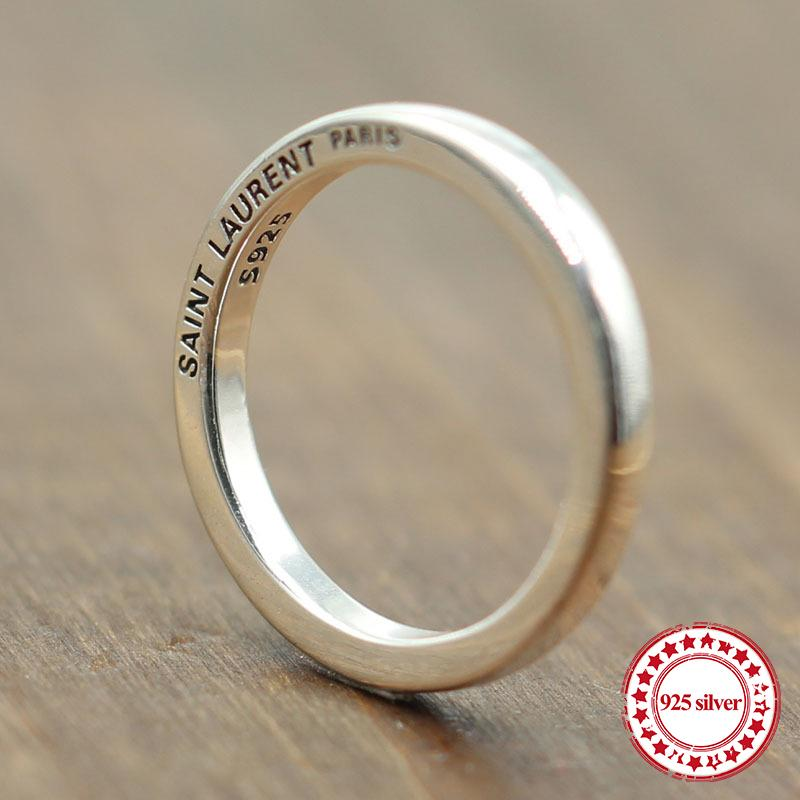 S925 anello in argento sterling personalizzato classico stile moda semplici liscio paio anelli semplice per inviare regalo amante Y18102510