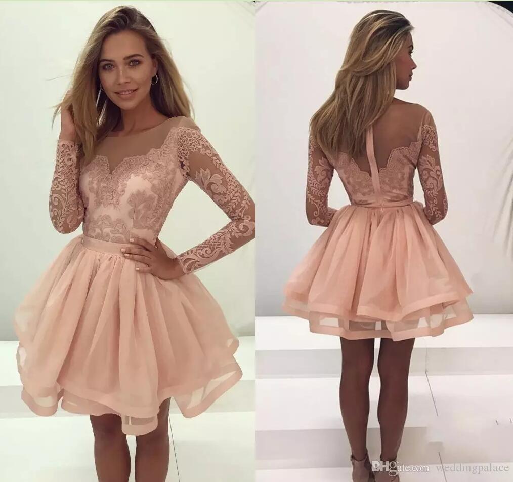 Mini vestidos de fiesta cortos de manga larga transparente 2020 Blush Pink Sweet 16 vestidos de graduación con cremallera vestido de fiesta de graduación vestido de fiesta de cóctel corto