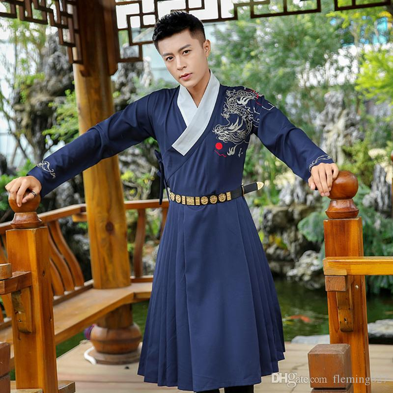 Unisex Hanfu Embroidery outerwear spring traditional hanfu trench Outfit Ming Dynasty Student Dragon embroidery Hanfu Ethnic Costume