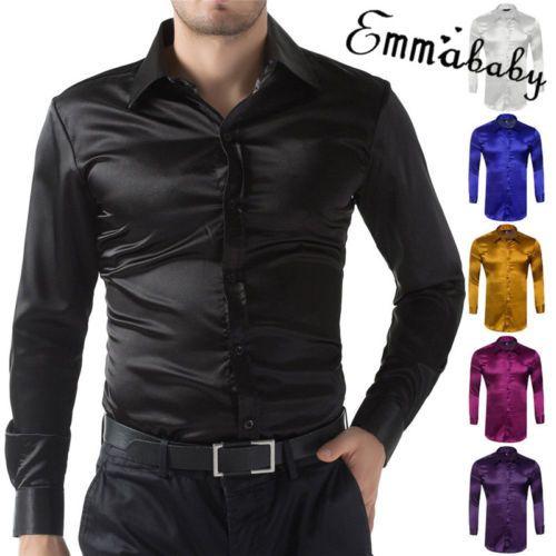 782f258efa938 Camisa de vestir de lujo de manga larga para hombre de satén de seda  HIRIGIN Camisas