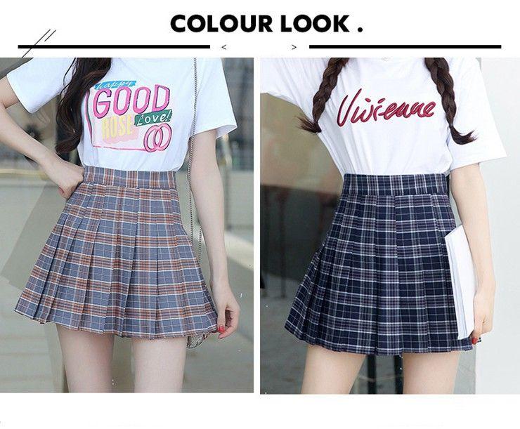 Fashion Summer Skirt Women 2018 Ete Skirts Casaul Pleated Ladies Skirts High Waist Mini Skirt Female Skirt Plaid Saia Jupe Femme (3)